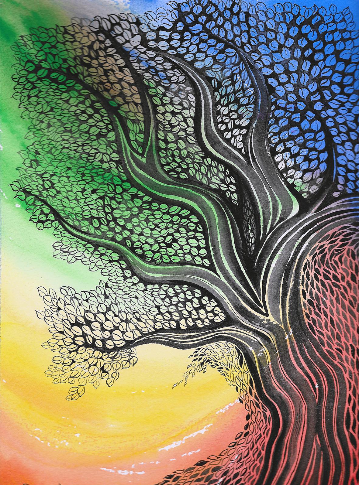 färggrant träd